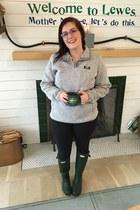 army green Hunter boots - heather gray LLBean sweater - navy Walmart leggings