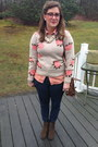 Army-green-target-boots-neutral-red-dress-boutique-sweater
