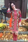 Red-vintage-boots-carrot-orange-sams-club-dress-light-brown-jcrew-belt