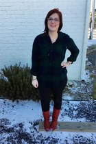 ruby red vintage boots - navy Walmart leggings - dark green garage top