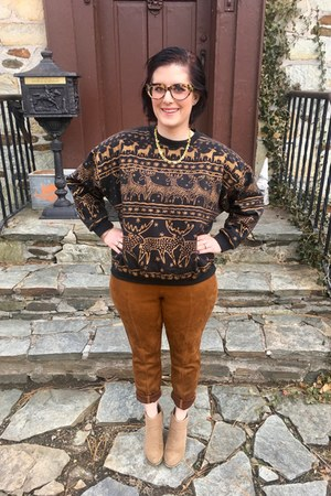beige DSW boots - tawny Old Navy leggings - gold Hunt & Orchard necklace