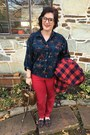 Brick-red-jcrew-jacket-red-loft-pants-navy-thrifted-top