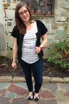 black Fever cardigan - navy Levis jeans - white liz claiborne t-shirt