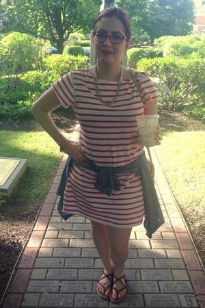 red Milly for Kohls dress - beige Dooney & Bourke bag - white baublebar necklace