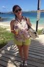 White-tommy-hilfiger-bag-yellow-cotton-on-shorts-mustard-rayban-sunglasses