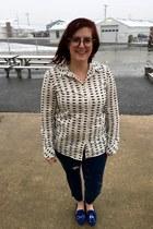white Gap blouse - deep purple firmoo glasses - silver kate spade necklace