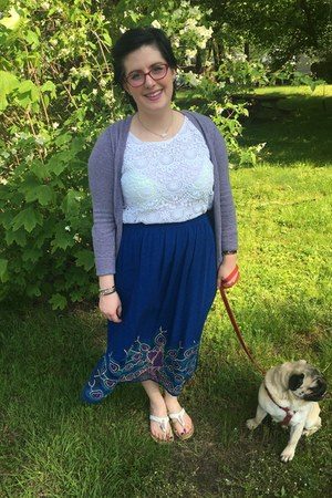 blue second hand skirt - white Lilly Pulitzer for Target top