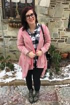 black gypsy warrior boots - black vintage bag - light pink Target cardigan