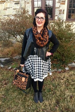 black Walmart boots - white francescas dress - brown DSW scarf