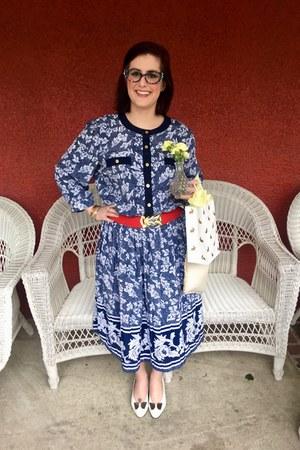 navy vintage dress - blue Faniel glasses - red Forever 21 belt