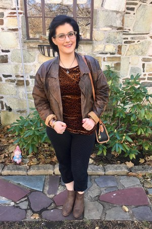 brown Walmart boots - dark brown vintage jacket - black Dooney & Bourke bag