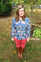 tawny Steve Madden boots - salmon talbots pants - light pink Love glasses