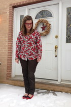ruby red thrifted vintage blouse - ruby red BonLook glasses