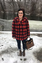 brown gift vest - light brown Walmart boots - navy abercrombie and fitch jeans