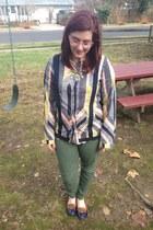 pink Anthropologie top - olive green Gap pants