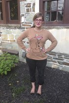 camel Old Navy sweater - gray Levis jeans - hot pink Steve Madden glasses