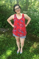 red Walmart top - white Old Navy shorts - red Claires earrings