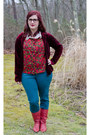 Red-vintage-boots-crimson-thrifted-cardigan-red-vintage-blouse