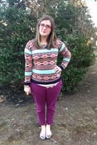 sky blue Marshalls sweater - hot pink Steve Madden glasses