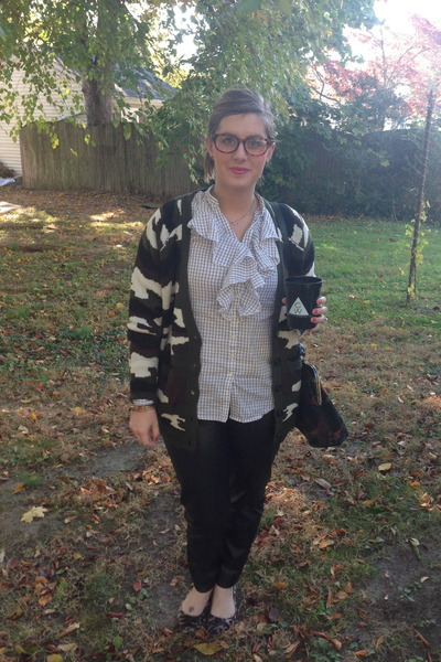 olive green gypsy warrior cardigan - charcoal gray thrifted vintage bag