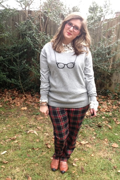 heather gray Urban Outfitters sweater - navy BonLook glasses