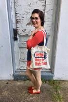 red Walmart shorts - eggshell Yardsale Press bag - navy Feed x Target top