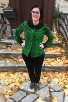 black Faniel glasses - black Loft pants - green Kenzo x H&M blouse