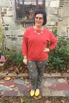 gold baublebar necklace - red Gap sweatshirt - deep purple firmoo glasses