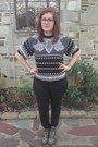 Black-gypsy-warrior-boots-white-thrifted-sweater-black-anthropologie-pants