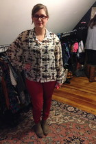 red Old Navy jeans - tan Gap boots - white Love Audrey blouse