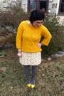 Yellow-loft-sweater-white-vintage-skirt-red-faniel-glasses