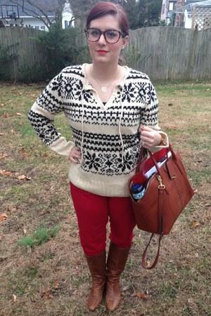 brown Steve Madden boots - ivory Walmart sweater