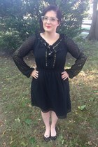 black Altuzurra for Target dress - gold BonLook glasses - black Express flats