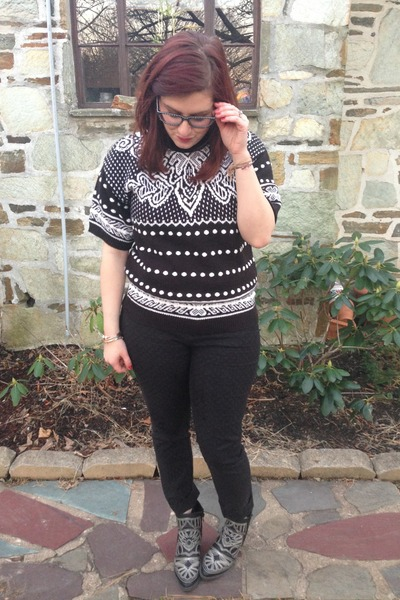 white thrifted sweater - black gypsy warrior boots - black Anthropologie pants