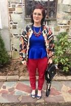 eggshell vintage jacket - ruby red World Market necklace - blue Marshalls top