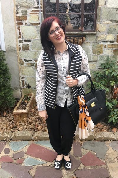 black 31 Phillip Lim for Target bag - white madewell blouse - black Gap vest