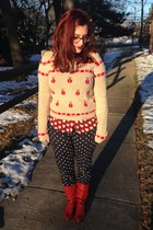 ruby red Rosegal blouse - ruby red vintage boots - navy CWonder jeans