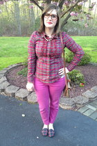 hot pink Gap jeans - tan Dooney & Bourke bag - gold Forever 21 necklace