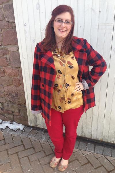 mustard vintage blouse - red Loft jeans - maroon Jcrew jacket