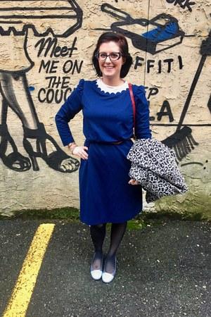 blue vintage dress - heather gray Betsey Johnson jacket - ruby red vintage bag