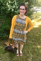 brown Louis Vuitton bag - yellow Forever 21 dress - brown Roxy sandals