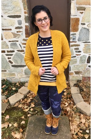 navy Gap jeans - bronze LLBean boots - navy Marshalls sweater