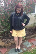 black firmoo glasses - black Forever 21 cardigan - black ben sherman blouse