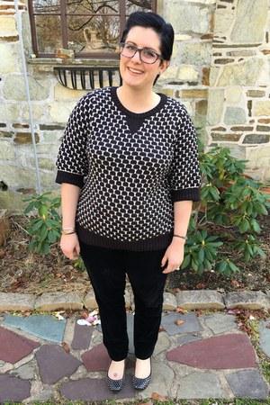 black Kirna Zabete x Target sweater - black firmoo glasses - black Loft pants