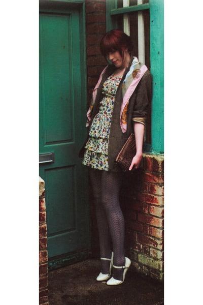 blazer - dress - Rokit scarf - Spitalfields Market purse - Office shoes