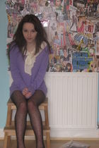 purple H&M sweater - white H&M blouse - black Primark tights