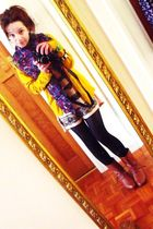 gold H&M cardigan - blue H&M scarf - beige H&M t-shirt - brown H&M boots - green