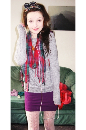 white River Island tights - black River Island sweater - purple Topshop dress - 