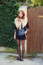 beige fur vintage accessories - heather gray wool Zara sweater