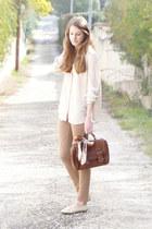 brown Zara bag - eggshell silk Mango shirt - beige vintage scarf